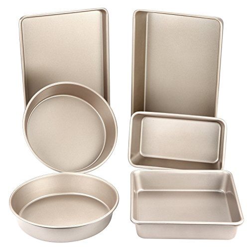 CHEFMADE 6-Pieces Baking Pan Set, Non-stick Carbon Steel Bakeware, FDA Approved for Oven Roasting (Champagne Gold)
