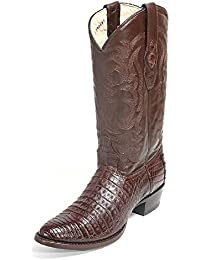 Men's Round Toe Genuine Leather Caiman Belly Skin Western Boots - Exotic Skin Boots