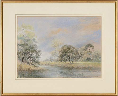 (Betty Whitefield - Signed & Framed 1986 Pastel, Water Meadows, Suffolk)