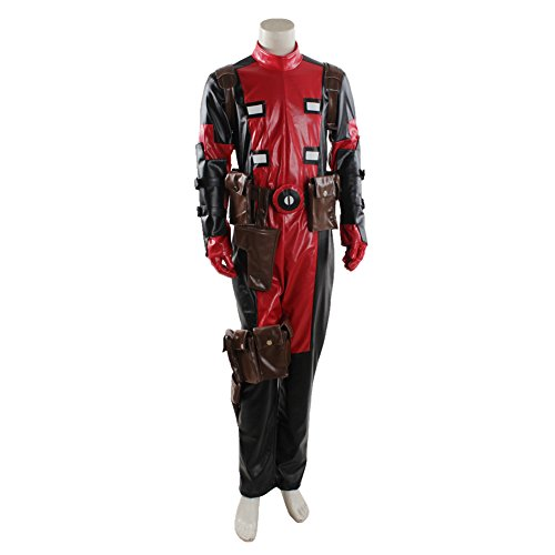 Joyfunny DP Movie Cosplay Pool Wade Costume Deluxe Halloween Full Body Suit Leather Jumpsuit Male XS
