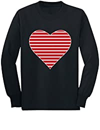 Red Striped Heart Love Toddler/Kids Long Sleeve T-Shirt