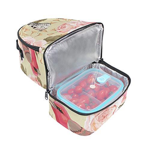 mariposas de almuerzo ajustable y de para picnic doble pájaros diseño con correa Bolso OwZCgnqxq