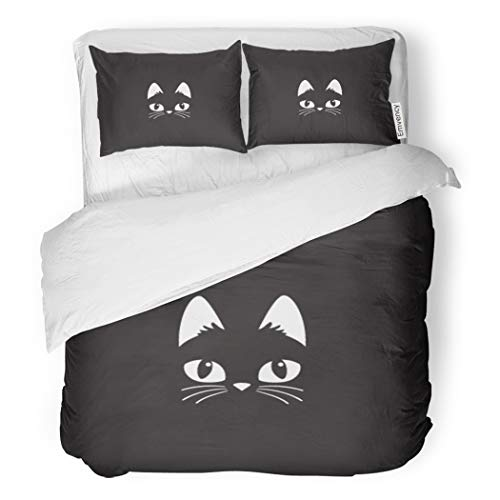 SanChic Duvet Cover Set Face Simple Cartoon Cat on Halloween Head Black Decorative Bedding Set with Pillow Case Twin Size -