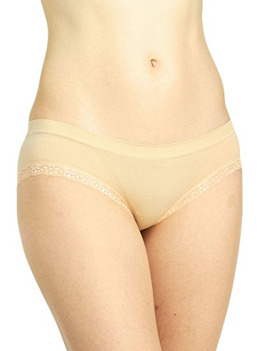 Rene Rofe Seamless Cheeky Panty With Lace, Beige, Medium