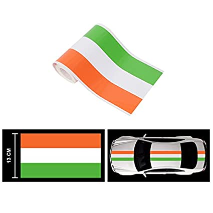 Speedwav car racing stripe graphic sticker orange white green india flag