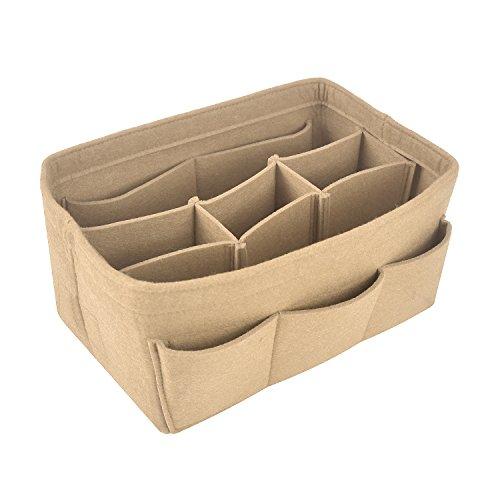 NOTAG Felt Fabric Purse Handbag Organizer Insert Bag in Bag Multipocket Linner Organizer Fits Speedy Neverfull for Tote Bag and Handbag,4 Size,6 Colors (Small, (Handbag Tag)