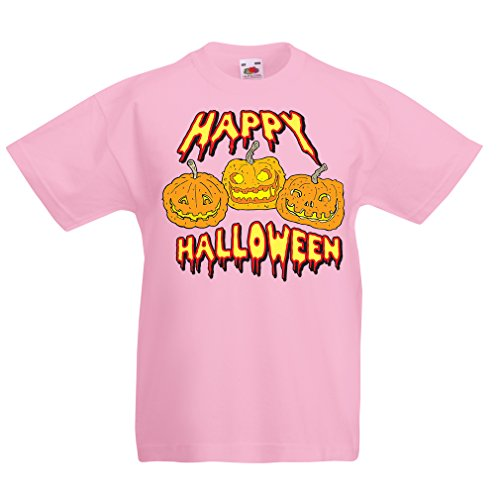 N4637K Funny t shirts for kids Happy Halloween! (12-13 years Pink Multi Color)