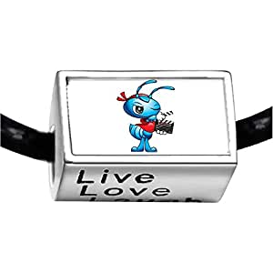 Chicforest Silver Plated Action Film Ant Photo Live Love Laugh Charm Beads Fits Pandora Charms
