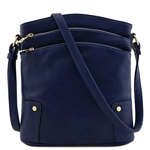 Triple Zip Pocket Large Crossbody Bag (Navy)