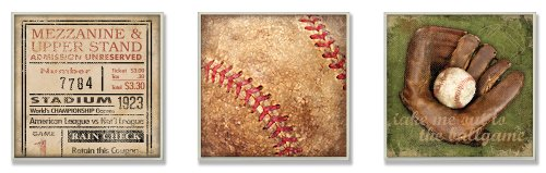 Squares Giclee Set - The Kids Room by Stupell Take Me Out to The Ballgame Memories 3-Pc Square Wall Plaque Set, 12 x 0.5 x 12, Proudly Made in USA