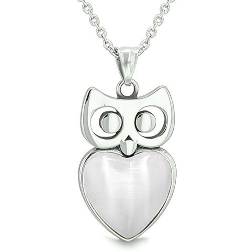 Amulet Owl Cute Heart Lucky Charm Positive Energy White Simulated Cats Eye 18 Inch Pendant Necklace by BestAmulets