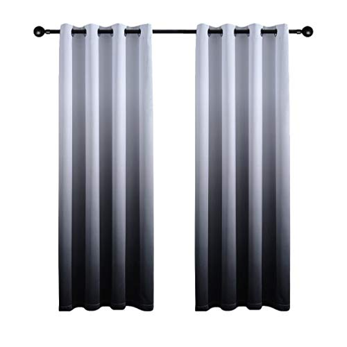 Yakamok Gradient Color Ombre Blackout Curtains Thickening Polyester Thermal Insulated Grommet Window Drapes for Living Room/Bedroom (Black, 2 Panels, 52x84 Inch)