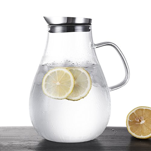 ONEISALL 85 Ounces Large Heat Resistant Glass Beverage Pitcher with Stainless Steel Lid, Borosilicate Water Carafe with Spout and Handle, Perfect for Homemade Juice & Iced Tea by Weisier (Image #1)