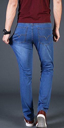 Plaid&Plain Men's Slim Tapered Jeans Stretch Skinny Jeans Lightweight Jeans LightBlue 30 by Plaid&Plain (Image #2)