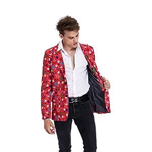 Christmas Suit for Men Party Blazer Jacket with Festival Print Regular Fit Xmas Costume Jacket Novelty Blazer
