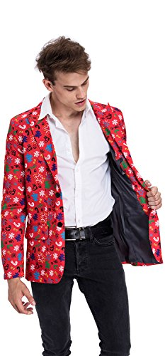 Novelty Mens Suits (YOU LOOK UGLY TODAY Mens Christmas Suit Coat Jacket Bachelor Party Funny Blazer Costume)
