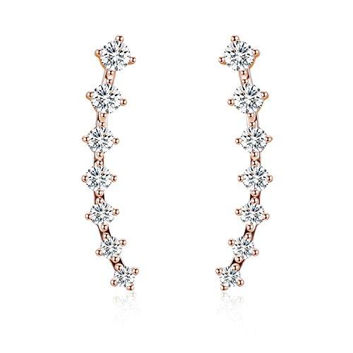 EVER SHINE Ear Cuffs Vines Climbers Wrap Pierced Pins Hook Earrings CZ (Pin Earrings)