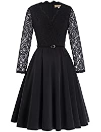Kate Kasin Womens Black Lace Illusion Long-Sleeve V neck Vintage Dress
