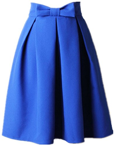 Women's A Line Pleated Vintage Skirt High Waist Midi Skater with Bow Tie(L, Blue)