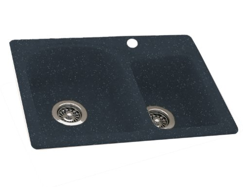Swanstone KSDB-2518-015 25-Inch by 18-Inch Super Saver Double Bowl Kitchen Sink, Black Galaxy Finish Black Sink