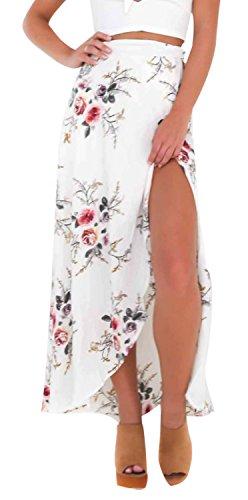 LISASTOR Women Elastic High Waisted Floral Print Bohemian Maxi Skirts Split Hem Tie up Bikini Cover Up Long Beach Skirt (S, White)