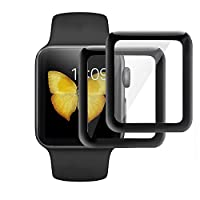KINPEI for Apple Watch Series 3/2/1 Screen Protector 38mm 42mm [2Pack][3D Tempered Glass Full Coverage][Scratch Resistant][Waterproof] Tempered Glass Film for Apple iWatch by KINPEI