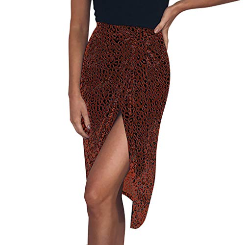 (Benficial Fashion Women Leopard Bandage Bodycon Lace Up Split Short Skirt Red)