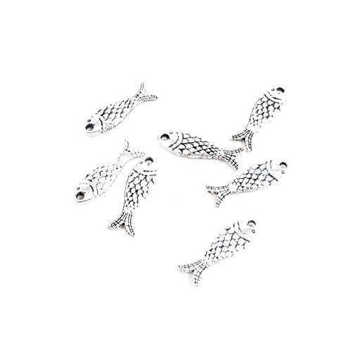 30 Pieces Antique Silver Tone Jewelry Making Charms Q7FG2 Fish Pendant Ancient Findings Craft Supplies Bulk (Fish Charms)