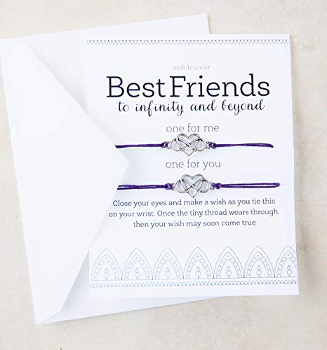 Best Friends Gift Wish Bracelet Matching Set of Two Greeting Card 2 Hearts Greeting Card