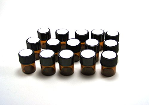 30 Essential Oil Amber Glass vials 1ML 1//4 Dram with orifice reducers and blank white circle labels