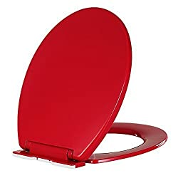 Relaxing Moments Slow-Close Plastic Round Toilet Seat - Red