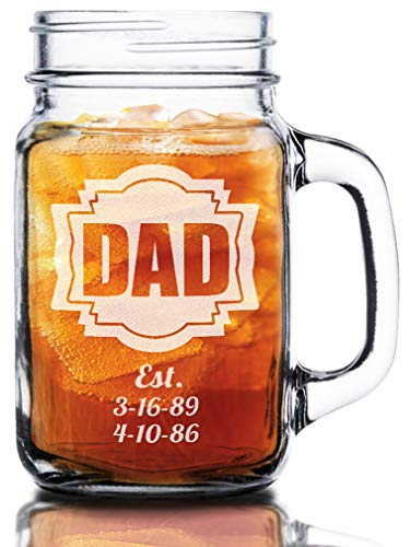 16 Oz Dad Fathers Day Gift Idea Engraved Mason Jar Beer Mug Personalized Drinking Glass Etched Gift for Father Grandpa Kids Birth Dates -