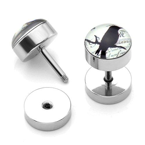 JOVIVI Stainless Steel Fake Cheater Ear Plugs Gauges Illusion Screw Stud Barbell Earrings,Tree of life/Hamsa Hand/Trinity Knot/Flower