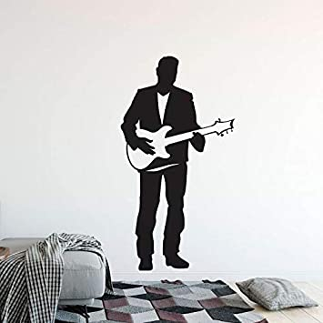 hllhpc Guitarra Eléctrica Etiqueta de La Pared Singer Man con Guitarra Vinilo Tatuajes de Pared Home Music Club Decoración Guitarra Cantante Cartel de la ...