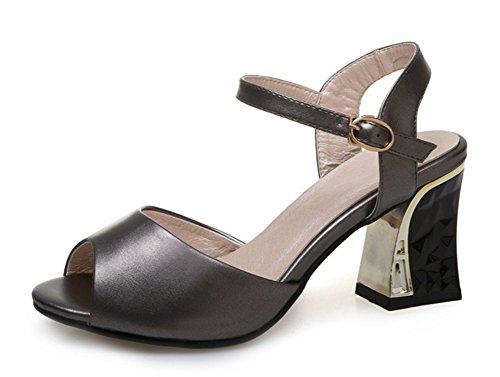 Aisun Womens Simple Buckle Peep Toe Dress Chunky Medium Heeled Sandals Shoes With Ankle Straps Gun G1WOa