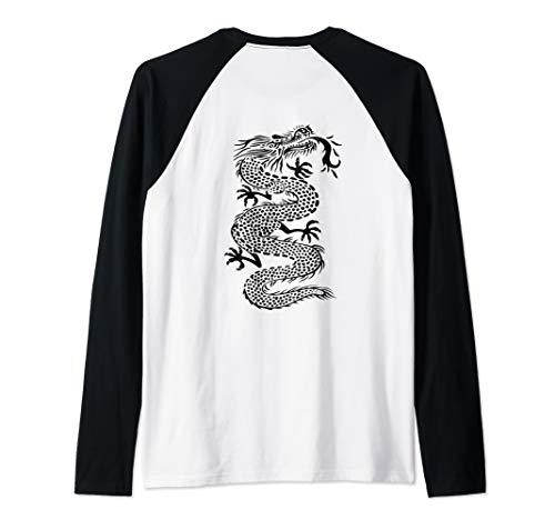 - ROCKSTAR Black Kung Fu Dragon - Martial Arts Tattoo Style Raglan Baseball Tee