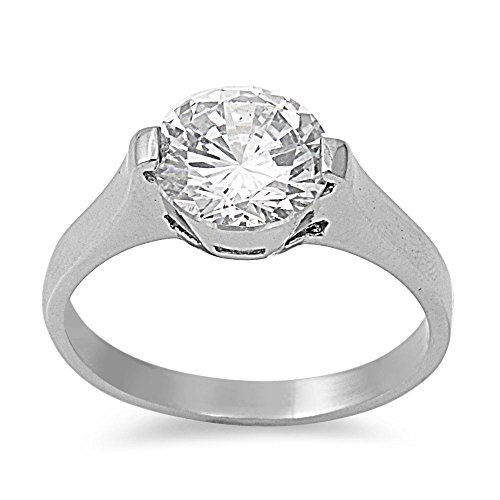 CloseoutWarehouse Round Cubic Zirconia Semi Tension Style Ring Stainless Steel Size 6 (Stainless Steel Tension Ring)