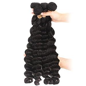 4 Bundles Loose Deep Wave Bundles Brazilian Hair Weave Bundles Remy Human Hair Bundles Extension 100G Natural Color 22…