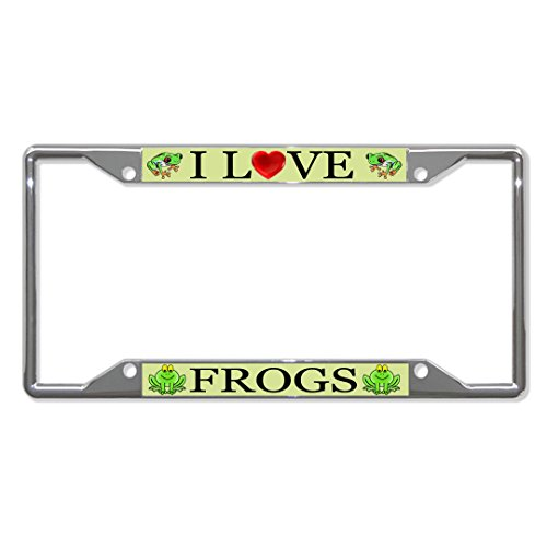I Love Frogs Animal Metal License Plate Frame Tag Holder Four Holes Perfect for Men Women Car garadge -