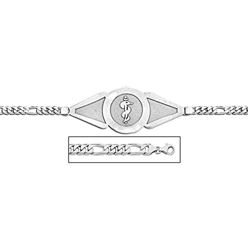 PicturesOnGold.com Sterling Silver Medical ID Bracelet W/Figaro Chain - 7-1/2 Inch WITH ENGRAVING ()