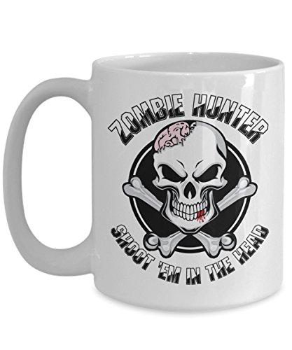Zombie Hunter Shoot Em In The Head Coffee Mug Halloween Zombie Apocalypse Survivor Gift Idea For Men Women White 15oz Ceramic ()