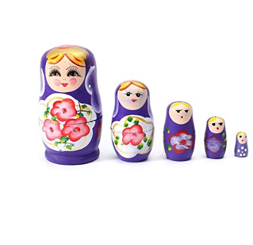 Glamorway Lovely Russian Nesting Matryoshka 5-Piece Wooden Doll Set Wooden Doll Hand Painted Doll Toy (Purple)
