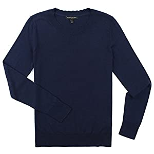Banana Republic - Women's - Scalloped Neck Long Sleeved Sweater (Multiple Color Options (Medium, Navy)