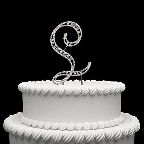 Hatcher lee Diamante Rhinestone Crystal Monogram Letter Alphabet Cake Toppers for Wedding Birthday Party Decoration 1pcs (L) ()