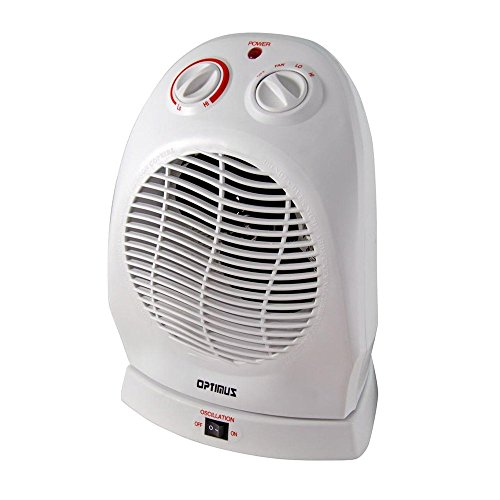 Optimus H-1382 Portable 2-Speed Oscillating Fan Heater Thermostat
