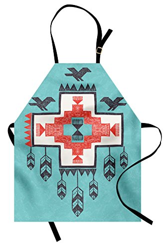 Ambesonne Tribal Apron, Hand Drawn Dreamcathcher Folkloric Birds Image, Unisex Kitchen Bib with Adjustable Neck for Cooking Gardening, Adult Size, Teal Coral ()