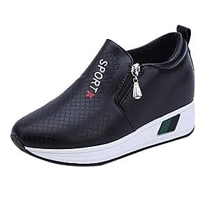 LuckyGirls Calzado Deportivo de Mujer Cuñas Slip On Moda Zapatillas de Correr Casuales Zapatos Bambas con Cierre: Amazon.es: Deportes y aire libre