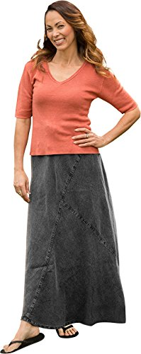 Dash Hemp Santa Cruz Mishka Biased Cut Paneled Skirt.100% Hemp (Charcoal, X-Large)
