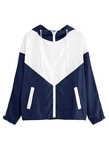 Milumia Women's Color Block Drawstring Hooded Zip Up Sports Jacket Windproof Windbreaker (Medium, White and Navy)