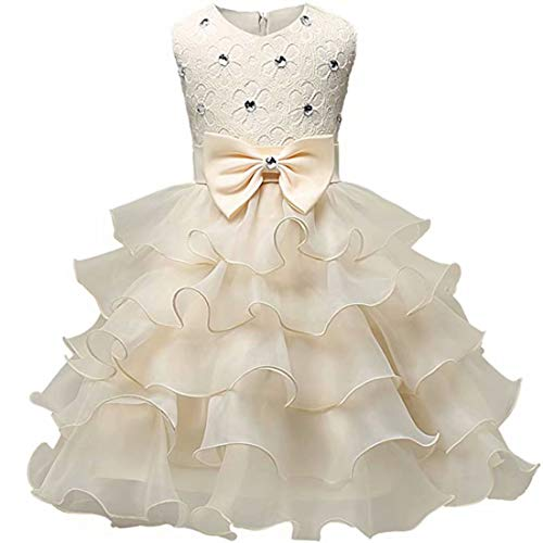 Baby Girls Special Occasion Wedding Party Princess Kids Prom Pageant Christening Communion Formal Dresses (Champagne-100)